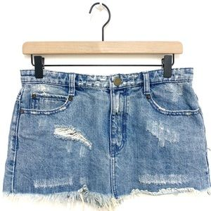 Free People Distressed Denim Skirt Size 2